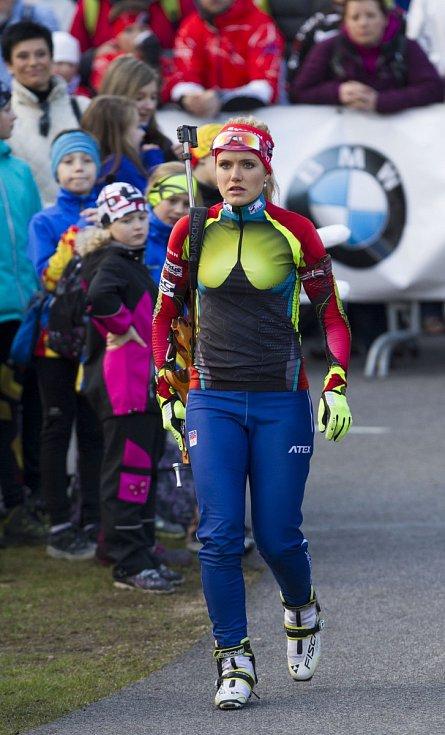 Biatlonová exhibice přilákala přes dva tisíce lidí. Na snímku je Gabriela Soukalová.