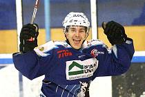 Jablonečtí hokejisté po zodpovědném výkonu porazili HC Řisuty 5:2 (1:0, 2:0, 2:2). Na snímku Bříška.