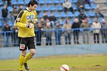 Hostující gólman Lukáš Zich, který v utkání zdařile nahradil zraněnou jabloneckou jedničku Michala Špita.