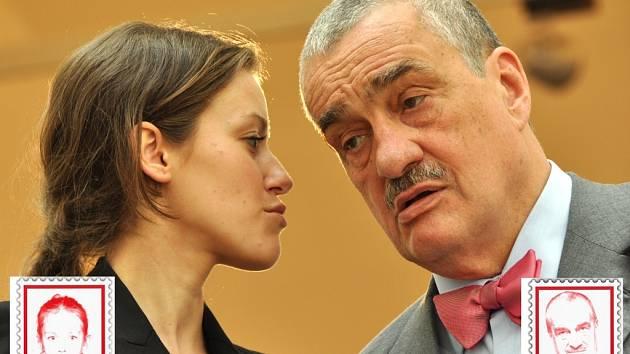Kníže Karel Schwarzenberg. Co mu našeptává mluvčí, křehká subtilní dívka, které v Jablonci říkali Bětka... Mluvčí TOP 09 Alžběta Plívová.