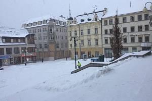 Zima v Jablonci nad Nisou. Ilustrační fotografie.