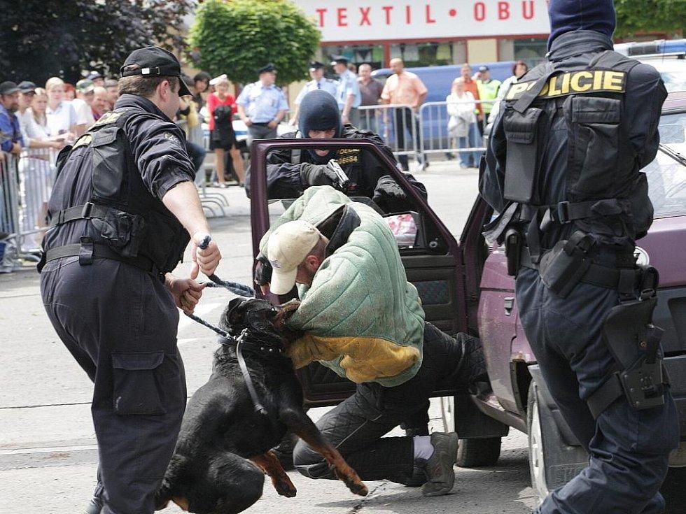 Složky Integrovaného záchranného systému se ve čtvrtek sešly na Horním náměstí v Jablonci, kde záchranáři předvedli práci psů kynologické skupiny, zadržení pachatele nebo součinnost IZS při dopravní nehodě.