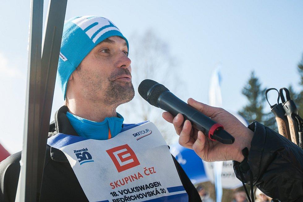 Závod v klasickém lyžování, Volkswagen Bedřichovská 30, odstartoval 16. února v Bedřichově na Jablonecku Jizerskou padesátku. Hlavní závod zařazený do seriálu dálkových běhů Ski Classics se pojede 18. února 2018. Na snímku je Marek Hilšer.