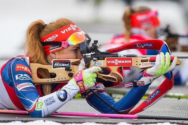 Biatlonová exhibice za účasti české biatlonové elity proběhla 22. března 2017 ve sportovním areálu Břízky v Jablonci nad Nisou. Na fotce Gabriela Koukalová.