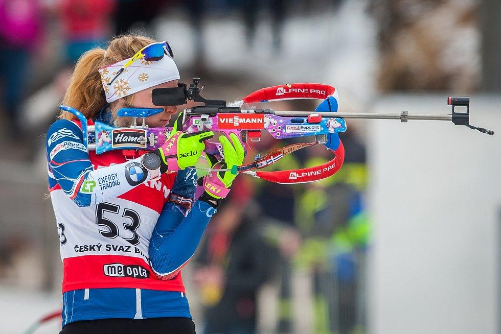 Exhibiční Mistrovství České republiky v biatlonovém supersprintu proběhlo 23. března ve sportovním areálu Břízky v Jablonci nad Nisou. Na snímku je biatlonistka Markéta Davidová.