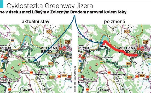 Původní trasa cyklostezky přes obec Vrát a nová varianta podél řeky