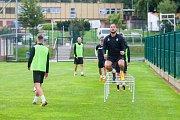 Trénink mužstva FK Jablonec pořádaný v rámci mediálního dne před zahájením sezony proběhl 25. července v Jablonci nad Nisou. Na snímku vpravo Martin Doležal.
