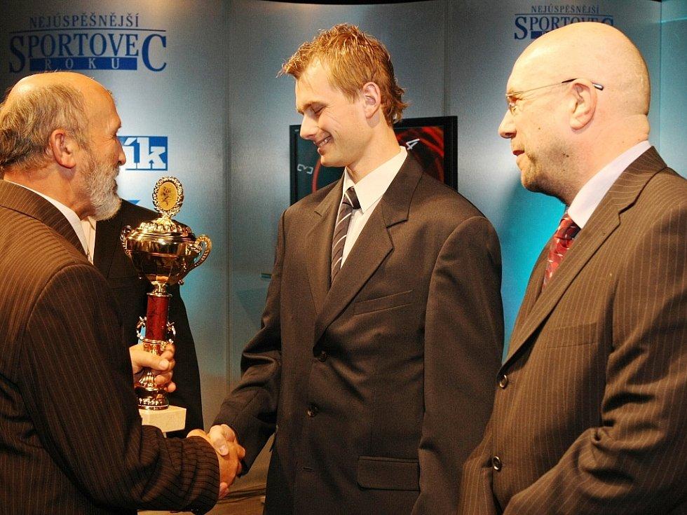 """Vyhlášení ankety """"Sportovec Libereckého kraje 2008"""" v divadle F. X. Šaldy. HC Bílí Tygři Liberec (hokej)."""