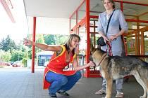 Opuštěnému psovi trpícími žízní v neděli alespoň dala kbelík s vodou pokladní Renata Müllerová, před zavírací dobou tanvaldského PENNY se jej ujali zákazníci, a na radu policistů kontaktovali lučanský útulek Dášenka.