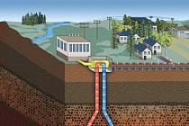 Náčrt geotermální elektrárny v Semilech