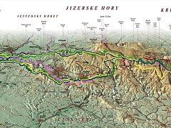 Výřez z mapky ukazující Modrou hřebenovku. Polská strana projekt ale odpískala