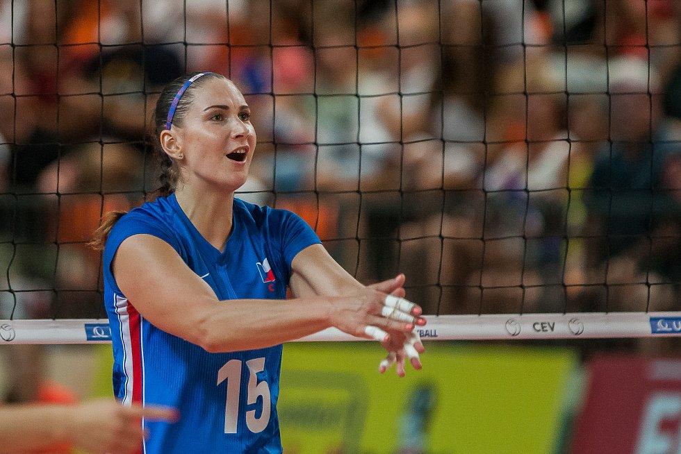 Kvalifikační utkání o postup na volejbalové mistrovství Evropy 2019 žen mezi reprezentačním výběrem České republiky a Estonska se odehrálo 22. srpna v Jablonci nad Nisou. Na snímku je Veronika Strušková.
