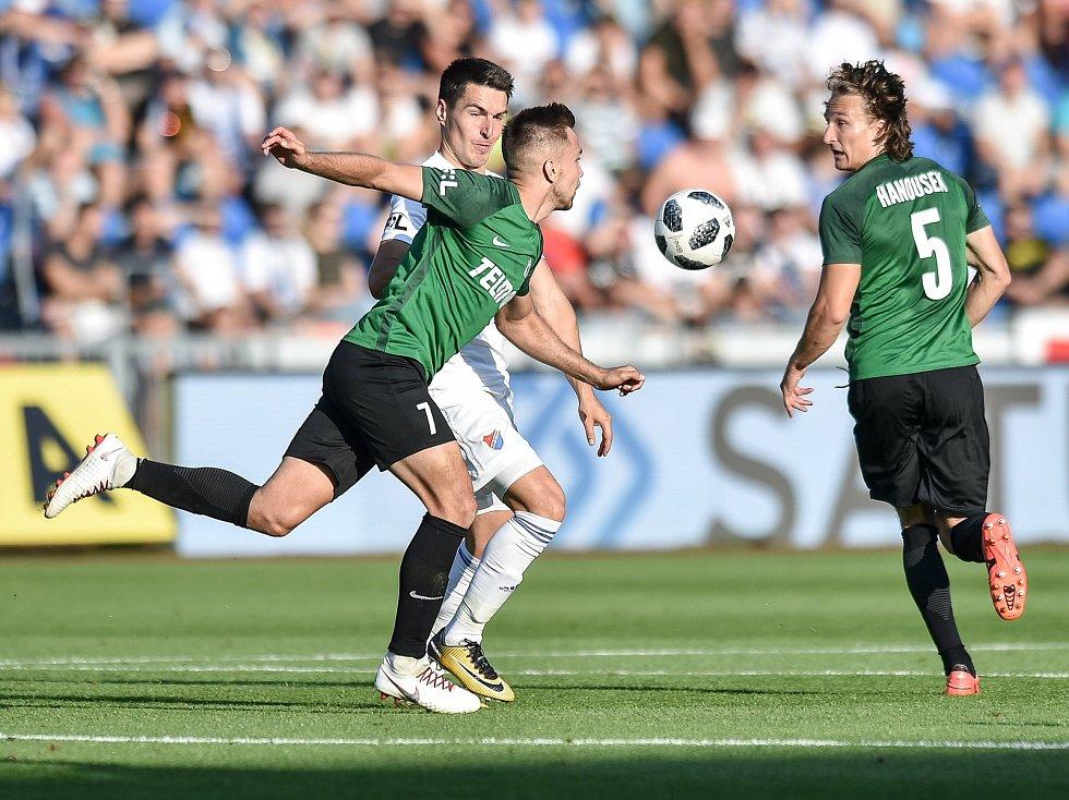 Utkání 1. kola první fotbalové ligy: Baník Ostrava - FK Jablonec, 23. července 2018 v Ostravě. Diviš Jaroslav a Robert Hrubý.