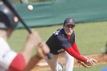 Baseballová liga pokračovala zápasem Cardinals Hluboká nad Vltavou-Blesk Jablonec nad Nisou. Hází jablonecký Šafařík.