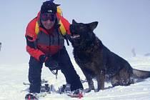 Pavel Hořejší s lavinovým psem německým ovčákem Benjim při výcviku v lokalitě Luční bouda.