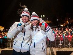 Fanoušci vítali na Horním náměstí v Jablonci nad Nisou regionální sportovce po návratu z olympijských her v korejském Pchjongčchangu