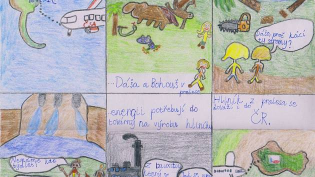 Kousek komiksu Mariany Svobodové ze Svobodné základní školy Jablonec