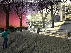 Vizualizace přístavby muzea skla v Jablonci