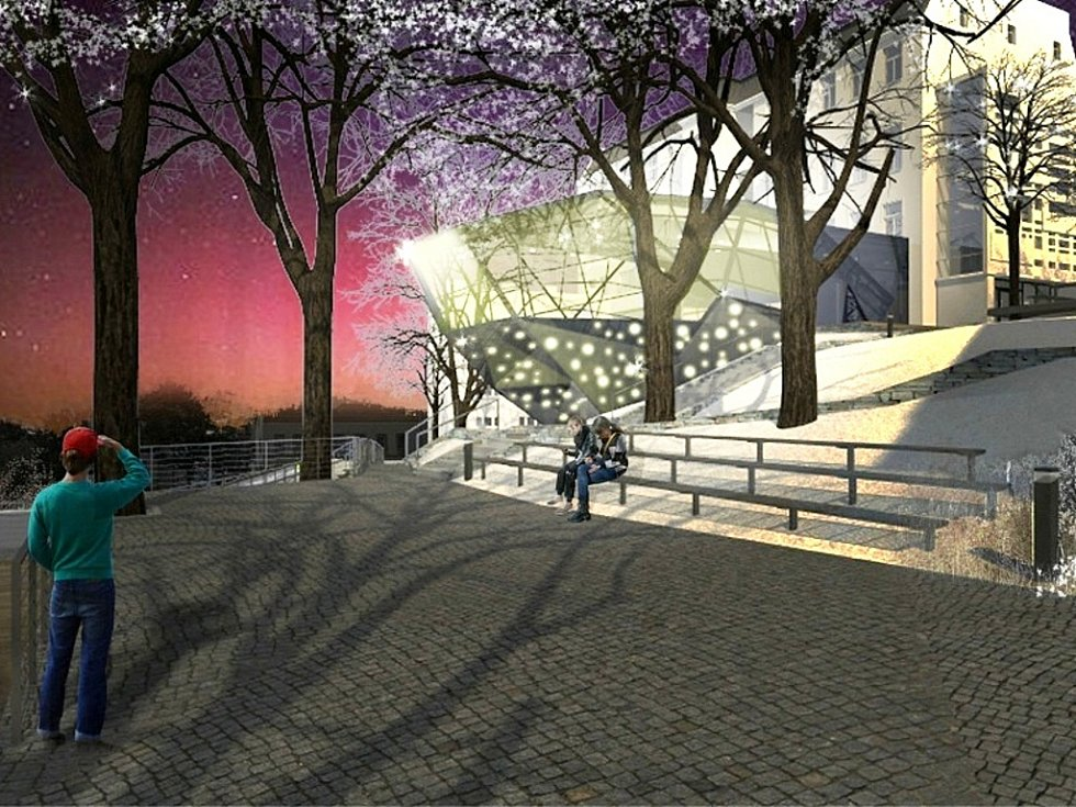 Vizualizace přístavby hlavní budovy Muzea skla a bižuterie v Jablonci nad Nisou, jak ji navrhl vítěz architektonické soutěže společnost Hlaváček – architekti.