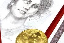 Na snímku grafický list Oldřicha Kulhánka a zlatá investiční kilová medaile podle sádrové předlohy Vladimíra Oppla, kterou v jablonecké České Mincovně razili ve středu.