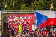 Finále závodu světové série horských kol ve fourcrossu, JBC 4X Revelations, proběhlo 15. července v bikeparku v Jablonci nad Nisou. Na snímku zleva Natasha Bradley, Helene Fruhwirth, Romana Labounková a Simona Jirková.
