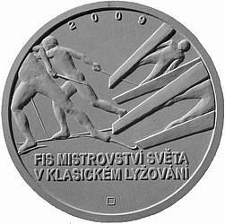 Sádrový návrh Davida Čermáka na rub pamětní stříbrné mince u příležitosti konání FIS mistrovství světa v klasickém lyžování v Liberci.