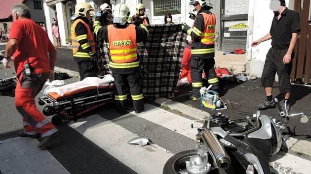Nehoda motorkáře na Pražské