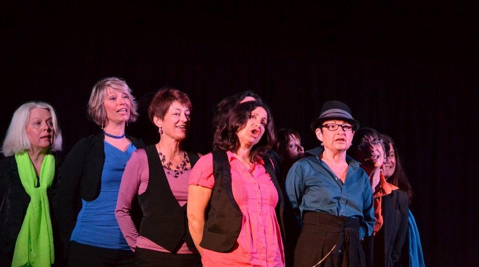 Dvanáct francouzských učitelek z normandského Caen ve skupině Des filles et des chansons! se dvěma kytaristy.