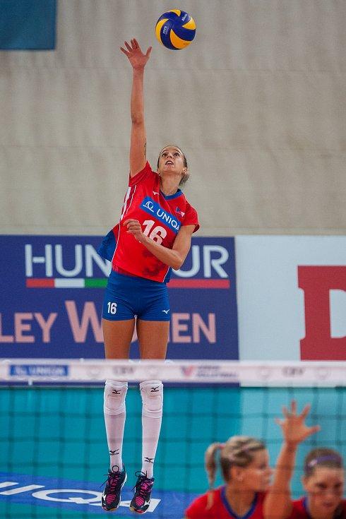 Kvalifikační utkání o postup na volejbalové mistrovství Evropy 2019 žen mezi reprezentačním výběrem České republiky a Švédska se odehrálo 15. srpna v Jablonci nad Nisou. Na snímku je Helena Havelková.