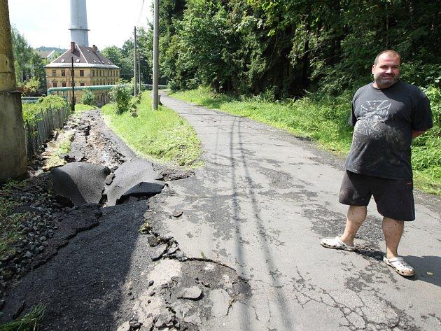 Škody v ulici Za Plynárnou