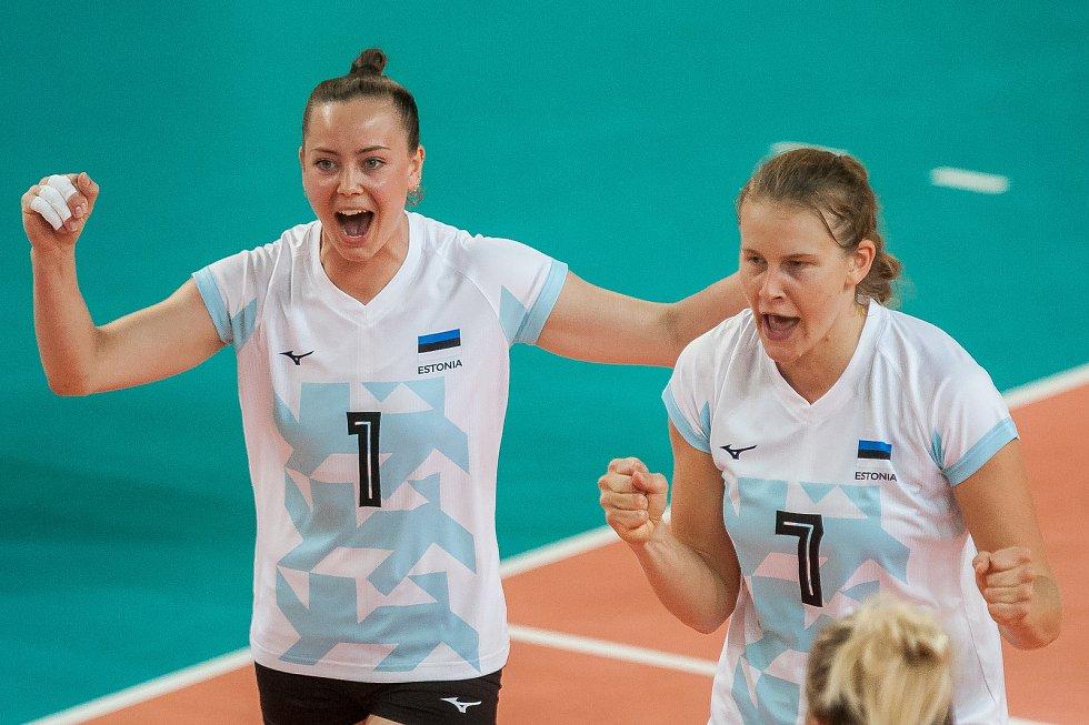 Kvalifikační utkání o postup na volejbalové mistrovství Evropy 2019 žen mezi reprezentačním výběrem České republiky a Estonska se odehrálo 22. srpna v Jablonci nad Nisou. Na snímku vlevo je Nette Peit.