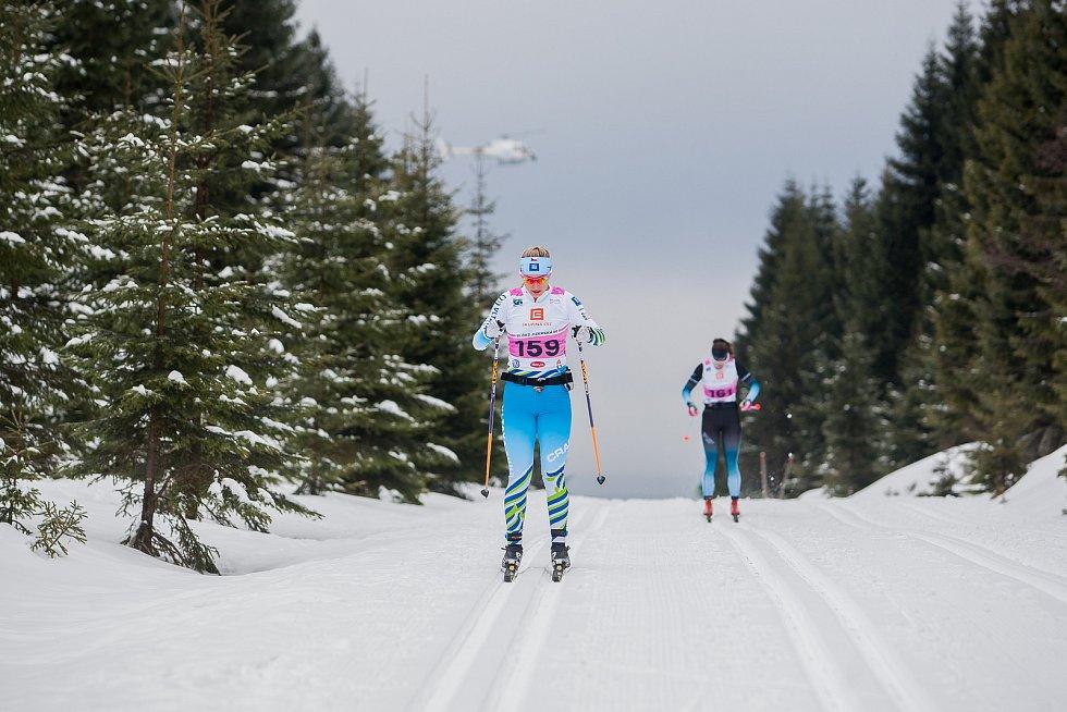 Jizerská 50, závod v klasickém lyžování na 50 kilometrů zařazený do seriálu dálkových běhů Ski Classics, proběhl 18. února 2018 již po jedenapadesáté. Na snímku je Noora Kivikko.