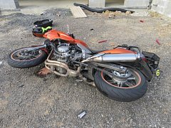 Motocykl po havárii.