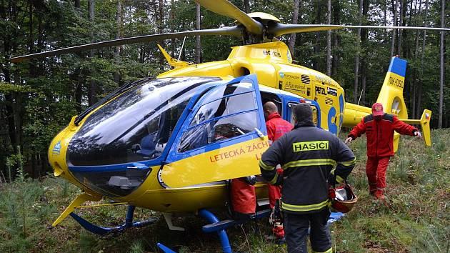 PILOT SI NAŠEL PASEKU. Při sobotním zásahu na Kokořínsku se podařilo s vrtulníkem usednou na lesní mýtině, která byla od zraněné ženy vzdálena zhruba dvacet metrů. Terén byl jinak přístupný pouze na čtyřkolce nebo pěšky.