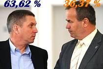 Jaroslav Zeman (vlevo) v 2. kole senátních voleb porazil drtivě Stanislava Eichlera.
