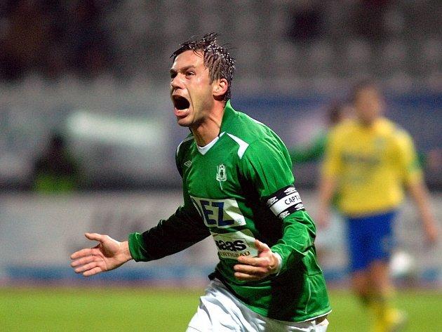Kapitán FK Jablonec 97 Miroslav Baranek se raduje po vstřelení vítězného gólu proti Taplicím.