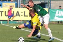 Fotbalisté Zlína (ve žlutých dresech) se ve 3. kole FORTUNA:LIGY utkali s Jabloncem. Sobotní duel se hrál ve velkém vedru. Foto: pro Deník/Jan Zahnaš