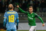 Zápas skupiny K Evropské ligy mezi týmy FK Jablonec a FC Astana se odehrál 25. října na stadionu Střelnice v Jablonci nad Nisou. Na snímku je střelec první branky Jakub Považanec.