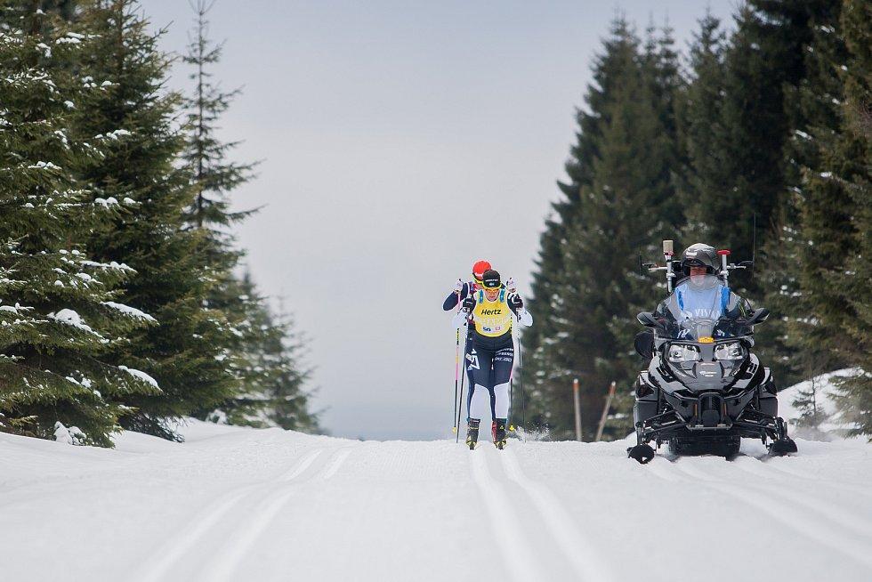 Jizerská 50, závod v klasickém lyžování na 50 kilometrů zařazený do seriálu dálkových běhů Ski Classics, proběhl 18. února 2018 již po jedenapadesáté. Na snímku je vítězka Britta Johanssonová - Norgrenová.