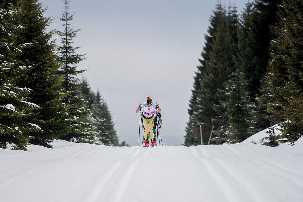 Jizerská 50, závod v klasickém lyžování na 50 kilometrů zařazený do seriálu dálkových běhů Ski Classics, proběhl 18. února 2018 již po jedenapadesáté. Na snímku je Astrid Oeyre Slind.