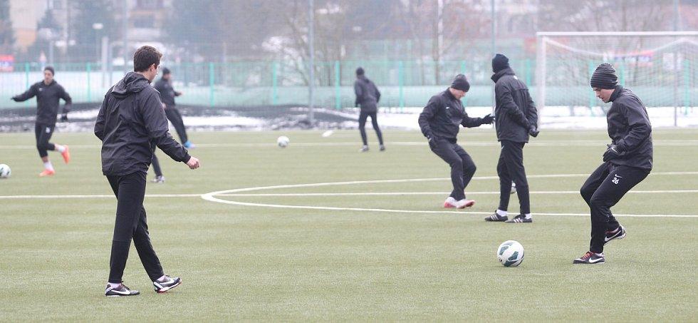 Fotbalisté Jablonce zahájili ve středu zimní přípravu. Na snímku první trénink hráčů Jablonce v novém roce.