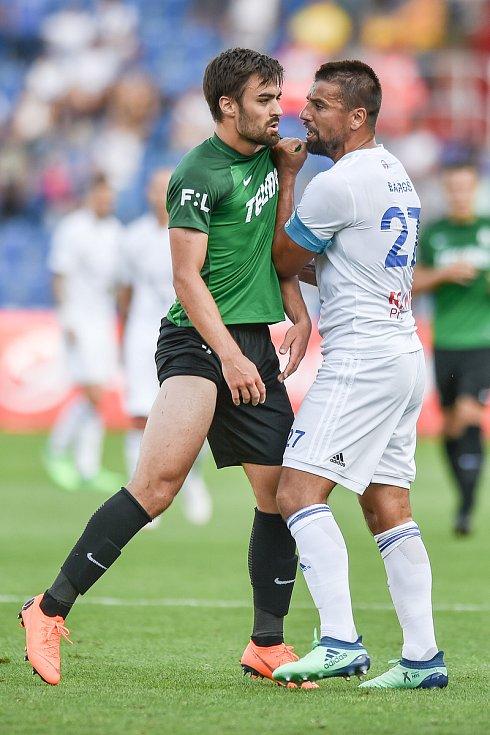 Utkání 1. kola první fotbalové ligy: Baník Ostrava - FK Jablonec, 23. července 2018 v Ostravě. (vlevo) Hovorka David a Milan Baroš.
