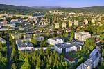 Areál jablonecké nemocnice, letecký pohled.