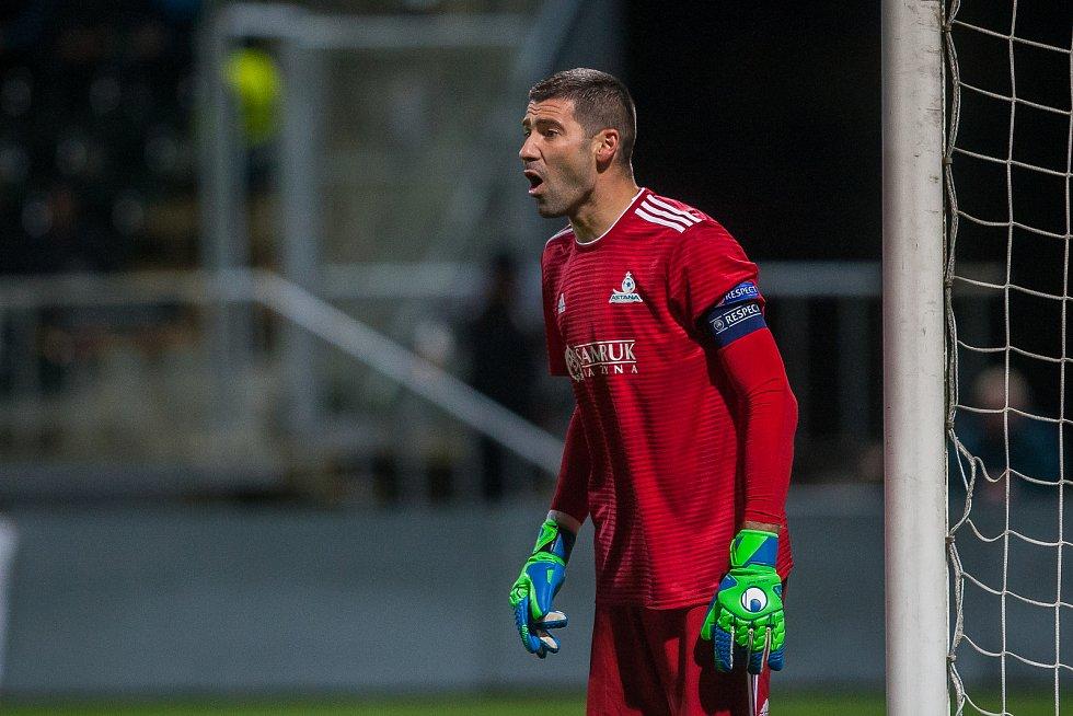 Zápas skupiny K Evropské ligy mezi týmy FK Jablonec a FC Astana se odehrál 25. října na stadionu Střelnice v Jablonci nad Nisou. Na snímku je brankář Nenad Erić.