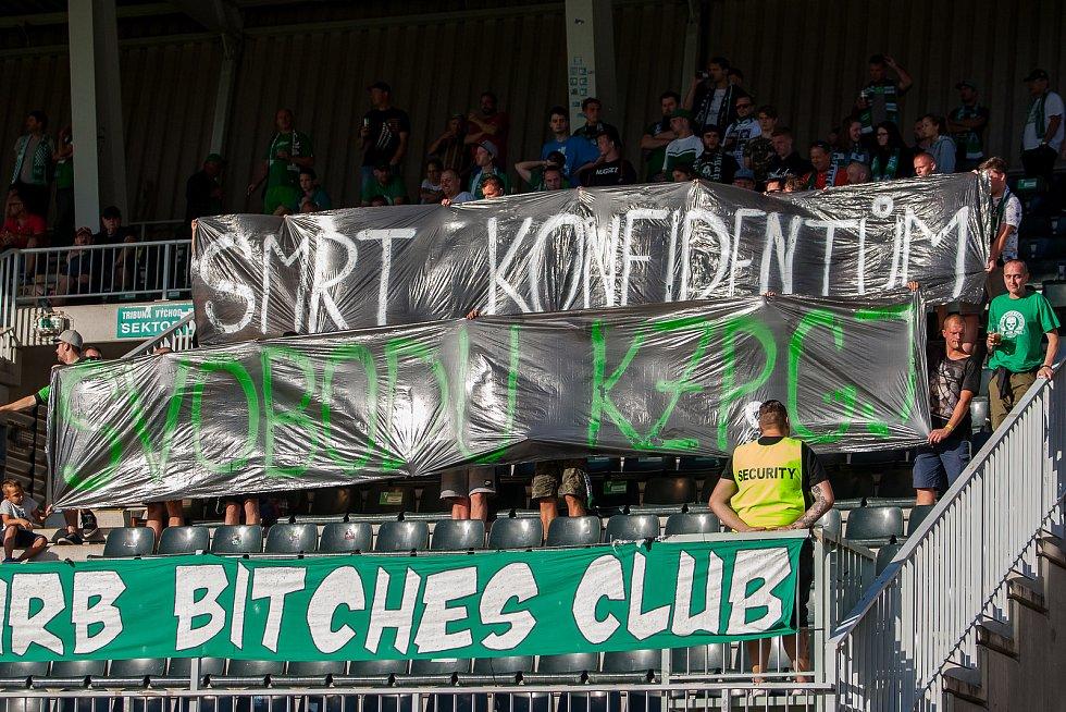 Zápas 4. kola první fotbalové ligy mezi týmy FK Jablonec a MFK Karviná se odehrál 11. srpna na stadionu Střelnice v Jablonci nad Nisou. Na snímku jsou fanoušci Jablonce.