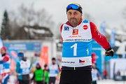 Štafetový závod Jizerská firemní RAUL, proběhl 17. února v Bedřichově na Jablonecku v rámci série závodů Jizerské padesátky. Hlavní závod na 50 kilometrů zařazený do seriálu dálkových běhů Ski Classics se pojede 18. února 2018. Na snímku je Radek Jaroš.