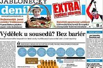 Redakce Jabloneckého deníku na přelom března a dubna 2011 připravila EXTRA zdarma vydání v nákladu 40 000 kusů s roznosem do poštovních schránek na Jablonecku.