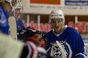 Utkání 8. kola 2. ligy ledního hokeje skupiny Západ se odehrálo 7. října na zimním stadionu v Jablonci nad Nisou. Utkaly se týmy HC Vlci Jablonec nad Nisou a HC Řistuy. Na snímku je Jiří Moravec.