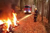 V sobotu odpoledne lidé ohlásili na tísňovou linku 112, že v místech mezi Mariánskou horou a Albrechticemi stoupá z lesa černý kouř. Hořela tam čtyřkolka.