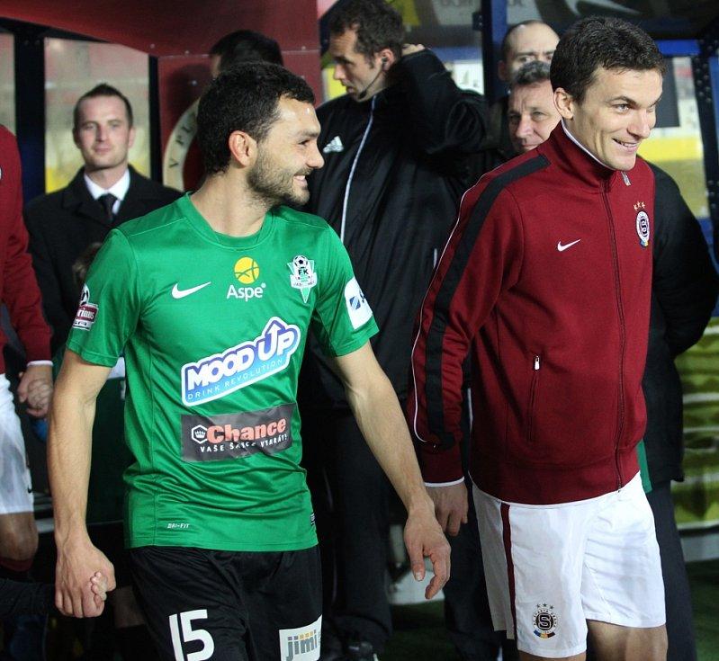 Jablonec hrál na Spartě 2:2. Na snímku Luboš Loučka a David Lafata před utkáním.